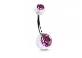 Piercing nombril acrylique pierre rose