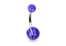 Piercing nombril acrylique bi couleur violet