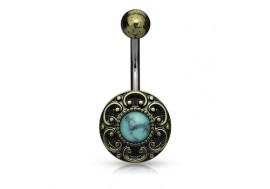 Piercing nombril antique bronze turquoise
