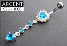 Piercing nombril argent massif 925 coeur fleur turquoise