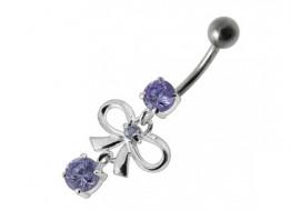 Piercing nombril argent massif 925 Noeud violet-10mm