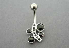 Piercing nombril argent pierres noires