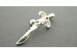 Piercing nombril argent dague