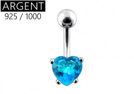 Piercing nombril argent coeur bleu
