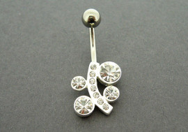 Piercing nombril argent pierres blanches
