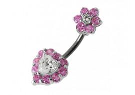 Pendentif nombril argent coeur fleur rose