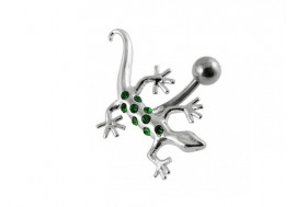 Piercing nombril Inversé salamandre emeralde