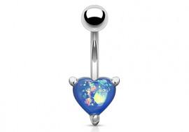 Piercing nombril coeur opalite bleue