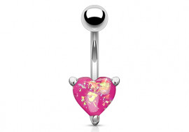 Piercing nombril coeur opalite rose