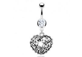 Piercing nombril coeur pendant et arabesque