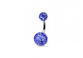 Piercing nombril swarovski bleu