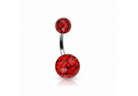 Piercing nombril swarovski rouge