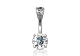 Piercing nombril cristal blanc 10mm