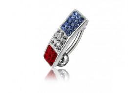 Piercing nombril argent inversé bleu blanc rouge