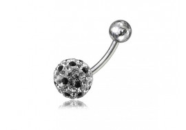 Piercing nombril swarovki point noir