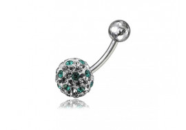 Piercing nombril swarovki point emeraude