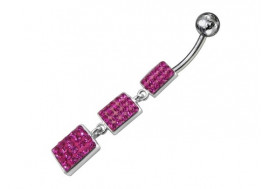 Piercing nombril argent rectangle pendant