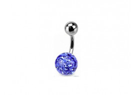 Piercing nombril swarovski une bille bleue