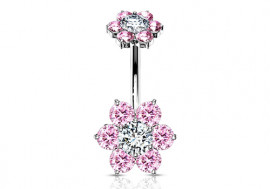 Piercing Nombril Fleur double charme rose