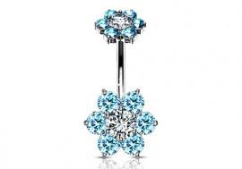 Piercing Nombril Fleur double charme turquoise
