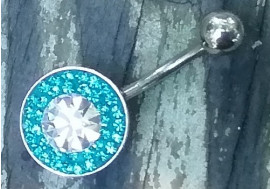 Piercing nombril cristaux emeraude et strass