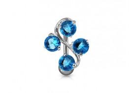 Piercing nombril fleur inversée bleue