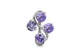 Piercing nombril fleur inversée violette