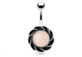 Piercing nombril fleur quartz rose