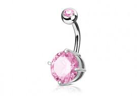Piercing nombril griffé rose pierre de 7mm