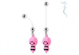 Piercing nombril femme enceinte abeille rose