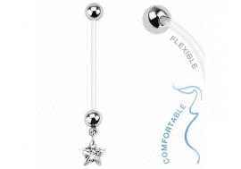 Piercing nombril femme enceinte étoile blanche