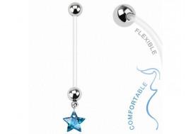 Piercing nombril femme enceinte étoile bleue