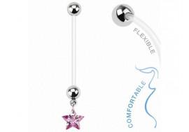 Piercing nombril femme enceinte étoile rose