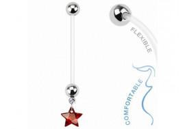Piercing nombril femme enceinte étoile rouge