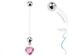 Piercing nombril femme enceinte coeur rose