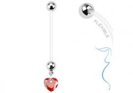 Piercing nombril femme enceinte coeur rouge