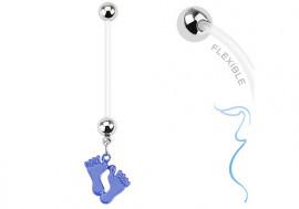 Piercing nombril grossesse petit pied bleu