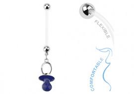 Piercing nombril grossesse tétine bleue