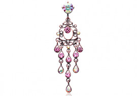 Piercing nombril inversé chandelier vintage rose