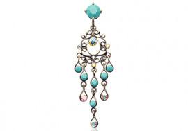 Piercing nombril inversé chandelier vintage turquoise