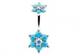 Piercing nombril double fleur et pierre turquoise