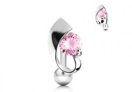 Piercing nombril inversé et pierre rose