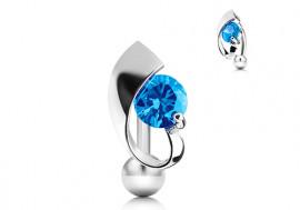Piercing nombril inversé et pierre bleue