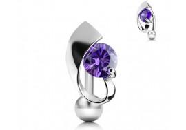 Piercing nombril inversé et pierre violette
