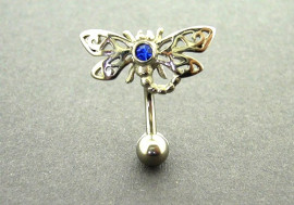 Piercing nombril libellule bleue