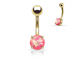 Piercing nombril opale brillante rose