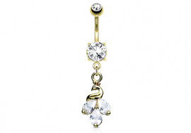 Piercing nombril paon plaqué or 14K