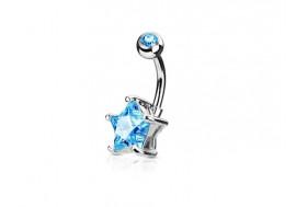 Piercing nombril étoile bleue