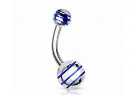 Piercing nombril acier rayé bleu
