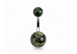 Piercing nombril acrylique camouflage
